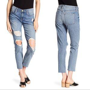 FRAME Le Garçon Distressed Raw Hem Boyfriend Jeans